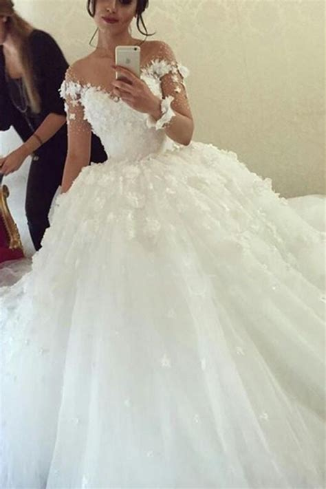 sheer sleeve scoop 2018 gown wedding dresses flowers tulle dress with buttons