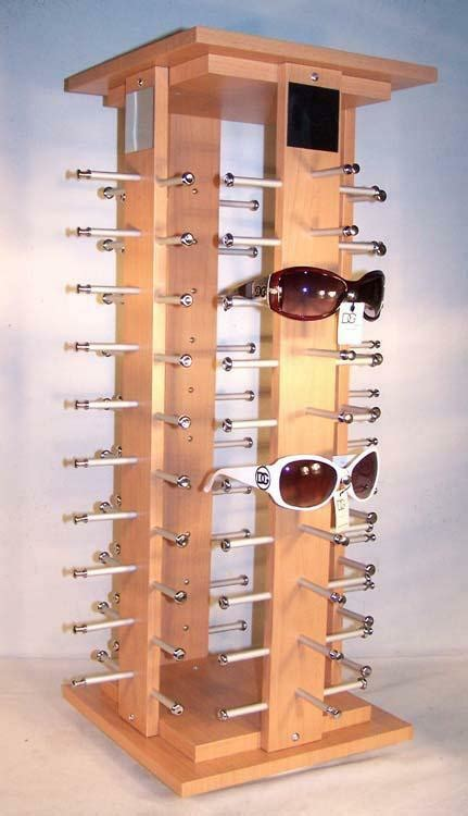 deluxe wood  pair sunglass spinning display rack counter