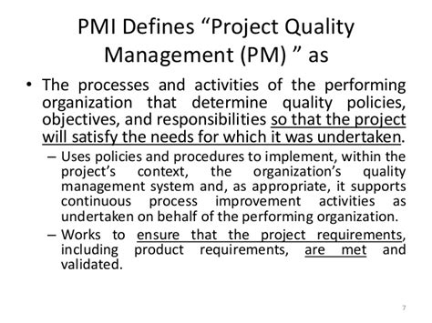 Mba Project On Quality by My Mba Course On Project Quality Management
