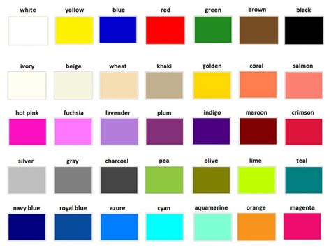different color schemes how to say different colours in english vocabulary