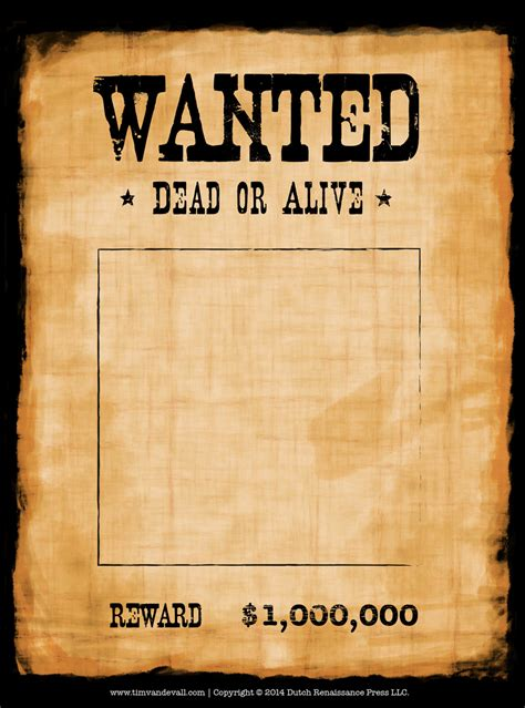 Wanted Template tim de vall comics printables for