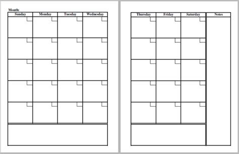 Blank One Month Calendar Template by Blank Calendar Template And Monthly Planner Pages