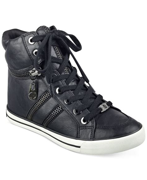 high top sneakers g by guess orizze high top sneakers in black save 14 lyst