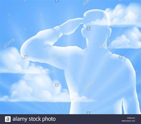 memorial background a soldier saluting with cloud sky background design for