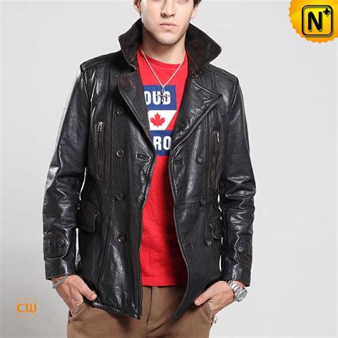 black leather pea coat mens mens black leather pea coat cw850163