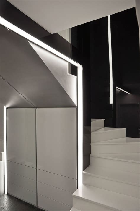 Apartment Stairs Design Cold And Minimalist Interior In Black And White Home Building Furniture And Interior Design