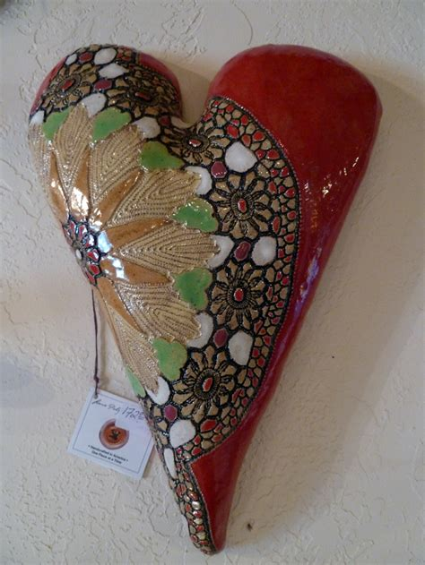 Handmade Ceramic Paintings - handmade ceramic hearts crosses and bowls