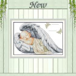 Little angel birth certificate sleeping baby pattern print canvas dmc