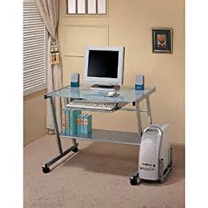 Computer Desks With Wheels Modern Metal Computer Desk With Glass Top And Castors Wheels Home Office Desks
