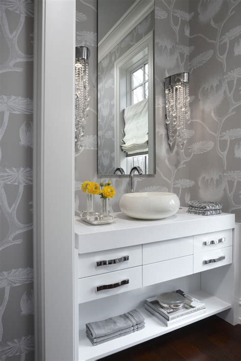 grey wallpaper powder room glamour grey white powder room creativnest