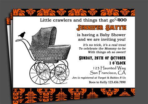 free printable halloween baby shower invitations halloween baby shower invitation printable or printed with