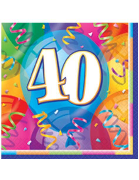 16 Serviettes En Papier Joyeux Anniversaire 40 Ans 33 X 33