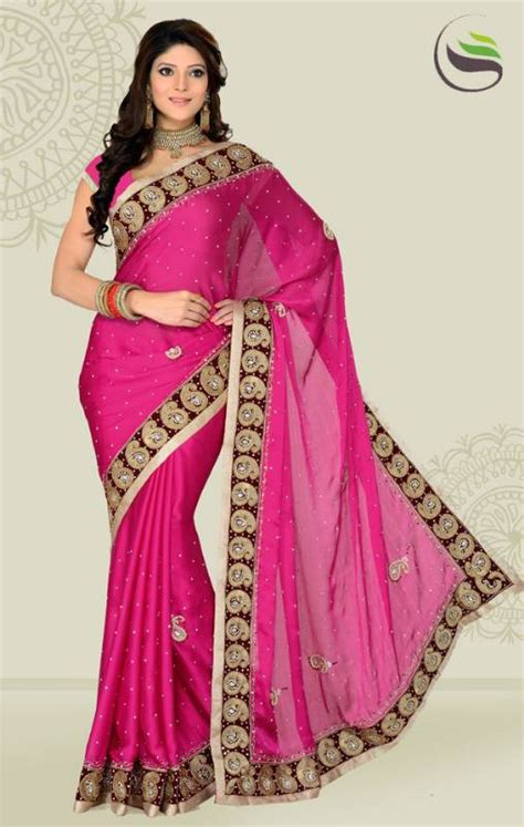 rani pink colour buy weeding rani pink color satin chiffon party wear saree