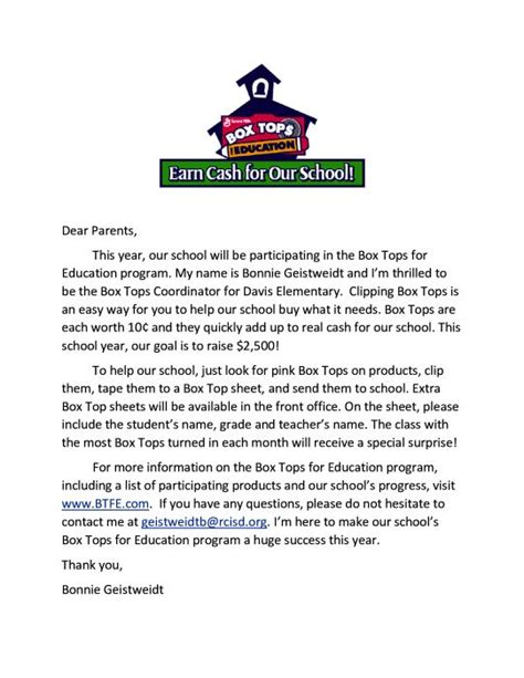 Parent Letter Box Tops box tops flyers for parents search school incentives for sternberger