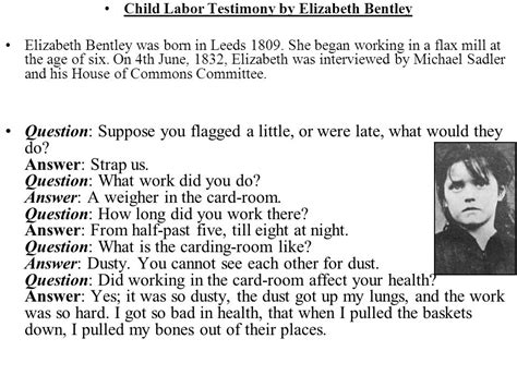 elizabeth bentley child labor child labor ppt
