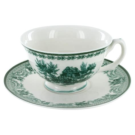 Tea Cup by Green Toile Porcelain Teacup And Saucer Set