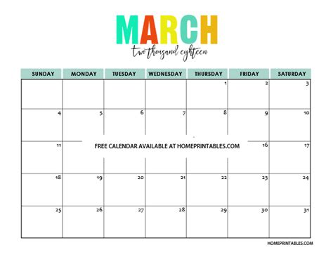 Calendar 2018 Printable March Printable Calendar 2018 In Colors Free To Print