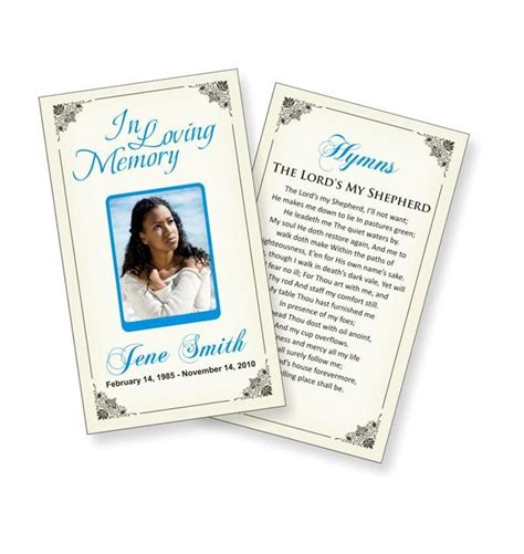 funeral prayer cards templates funeral ideas pinterest