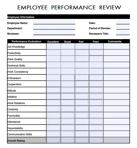 performance evaluation template sle employee review template 7 free documents