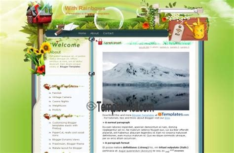 nature templates for blogger green rainbow nature blogger template download