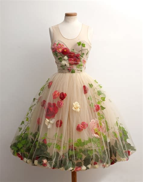 tulle sheer dress with nature literally embedded into it so lovely