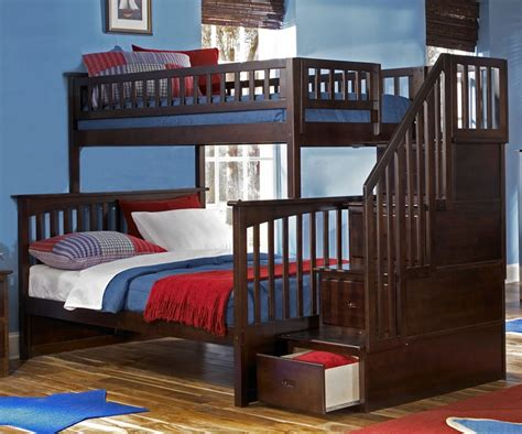 bunk beds bedroom set columbia twin over full staircase bunk bed bedroom