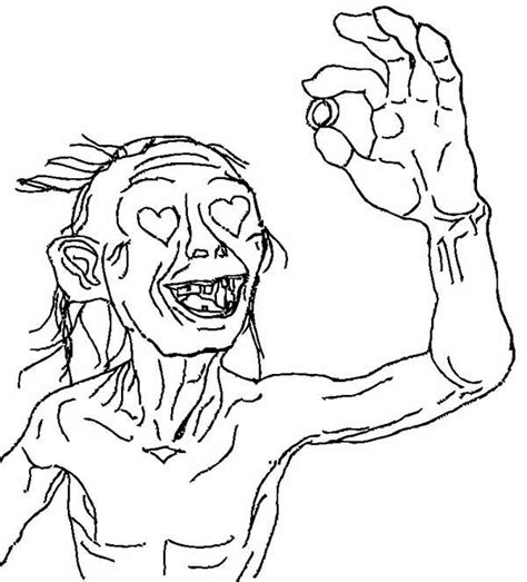 free coloring pages of hobbit with gollum