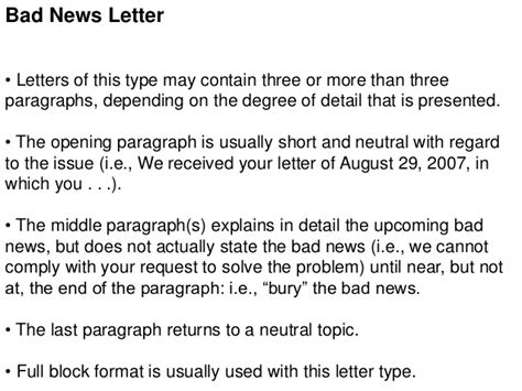 bad news in business letter types of business letters