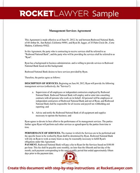 management services agreement template management services agreement create a free template