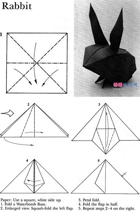 Origami Rabbit Diagram - 25 best ideas about origami tutorial on