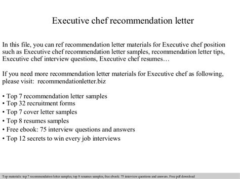 Reference Letter Chef executive chef recommendation letter