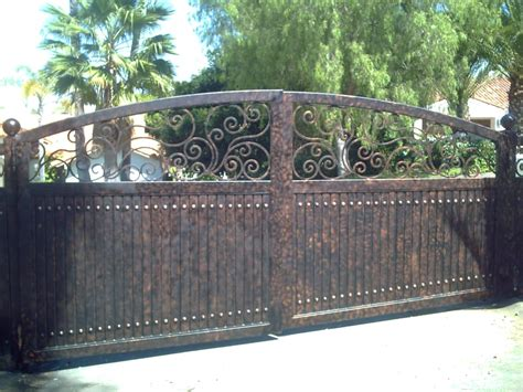 sliding driveway gates with wrought iron scrolls at top primer paint yelp