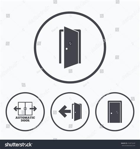emergency exit icons door with arrow sign stock vector automatic door icon emergency exit arrow stock vector