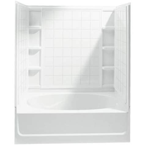 sterling bath shower sterling ensemble 60 in x 36 in x 72 in bath and shower kit with right drain in white