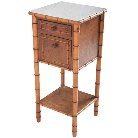 marble top bedside table 19th century faux bamboo bedside table with white