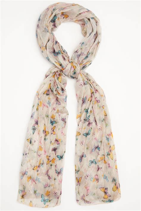 Multi Scarf yellow multi butterfly print crinkled scarf