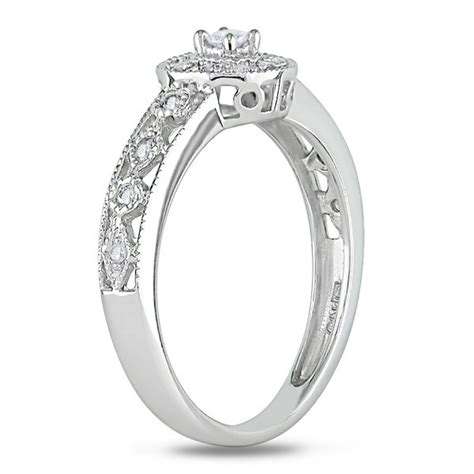 antique design affordable engagement ring in white
