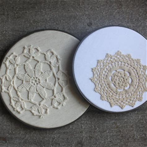 Wall Decor Dekorasi Rumah Hoop Shabby shabby chic doily beige lace cottage from joliescutesies on