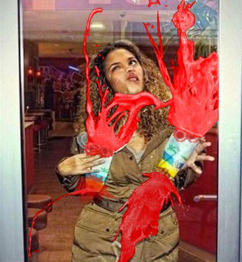 Woman Holding Milkshakes Walks Into A Glass Door X Post Running Into Glass Door
