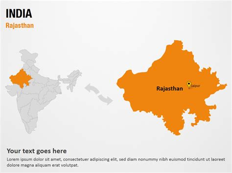 Rajasthan India Powerpoint Map Slides Rajasthan India Map Ppt
