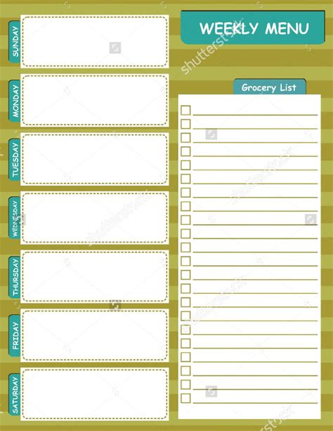 weekly menu template 20 free psd eps format download