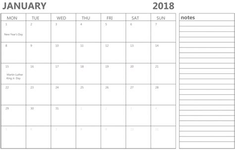 Calendar 2018 Notes January 2018 Calendar With Notes