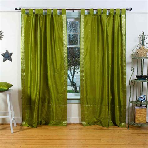 Olive Green Curtains Drapes Olive Green Tab Top Sheer Sari Curtain Drape Panel Ebay