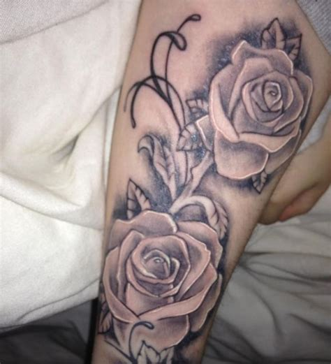 half open rose tattoo half sleeve
