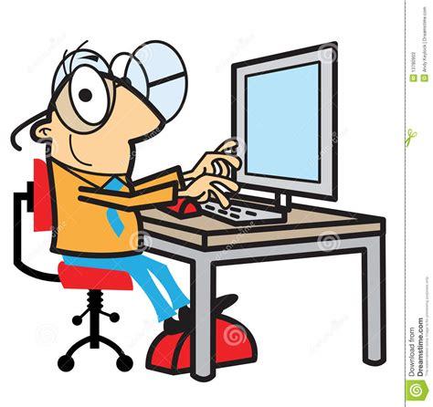 am computer karikaturmann der am computer arbeitet vektor abbildung