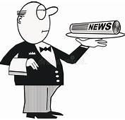 Butler With Newspaper Cartoon Stock Vector  Illustration