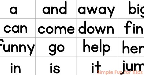 printable flash cards words pre primer sight word mini flash cards simple fun for kids