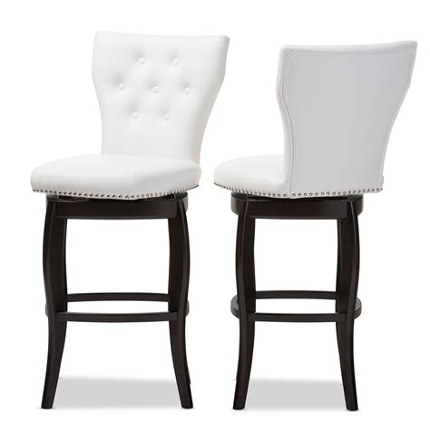 baxton studio kasey white solid wood swivel bar stool with baxton studio leonice modern and contemporary white faux