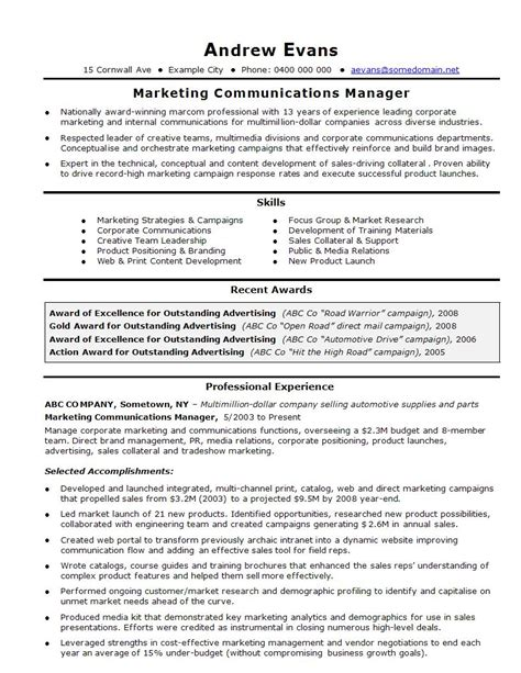 marketing resume template stunning curriculum vitae exle marketing manager ideas