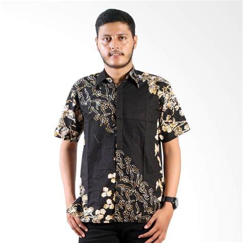 Baju Batik Pria Kemeja Monocrom jual batik nulaba cap lengan pendek sekar kupu monochrome